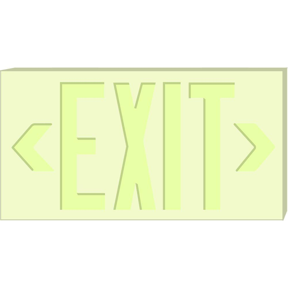 Brady 8 in. x 15 in. Glow-in-the-Dark Self-Stick Polyester Wall Mount Exit Sign