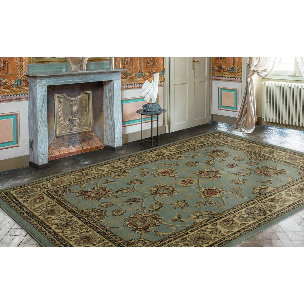 Ottomanson Traditional Oriental Seafoam Green 8 ft. x 10 ft. Area Rug