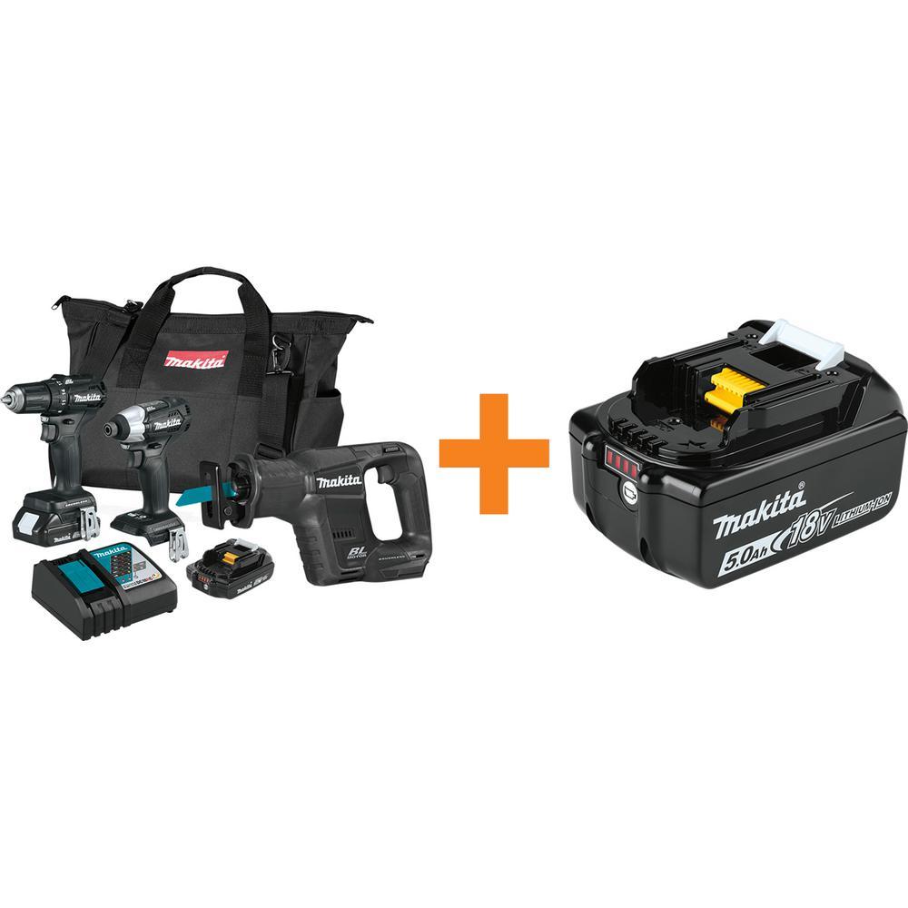 18-Volt LXT Sub-Compact Brushless 3-piece Combo Kit 2.0Ah with bonus 18-Volt LXT Battery Pack 5.0Ah with Fuel Gauge