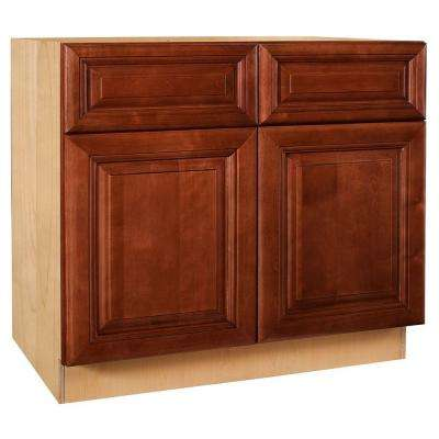 Lyndhurst Assembled 36x34.5x24 in. Double Door Base Kitchen Cabinet, 2 Drawers & 2 Rollout Trays in Cabernet
