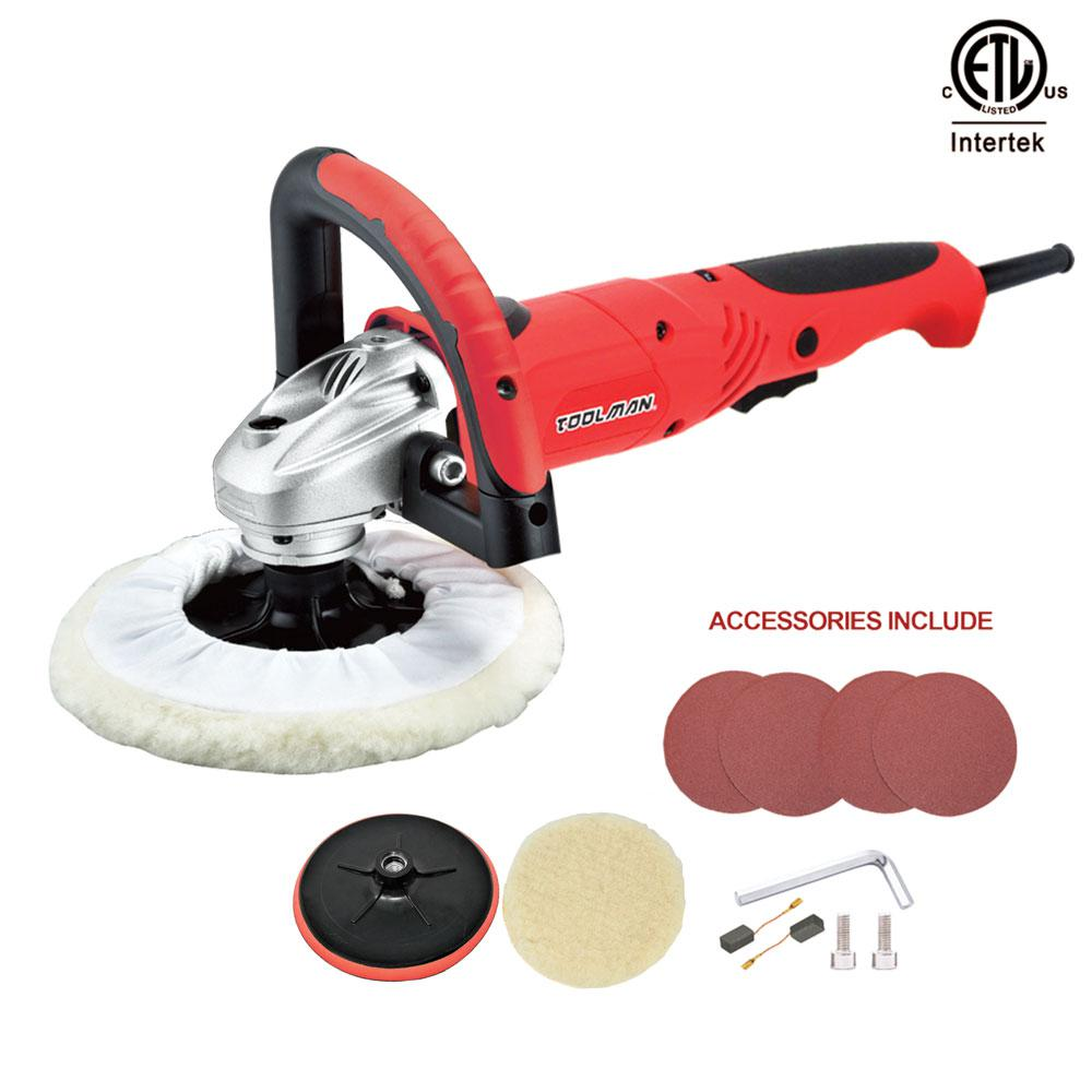 Boyel Living 7.5 Amp Corded 7 in. Variable Speed Power Tool Polishing Buffer Waxer Electric Disc Sander with Wool Pad and Sandpaper