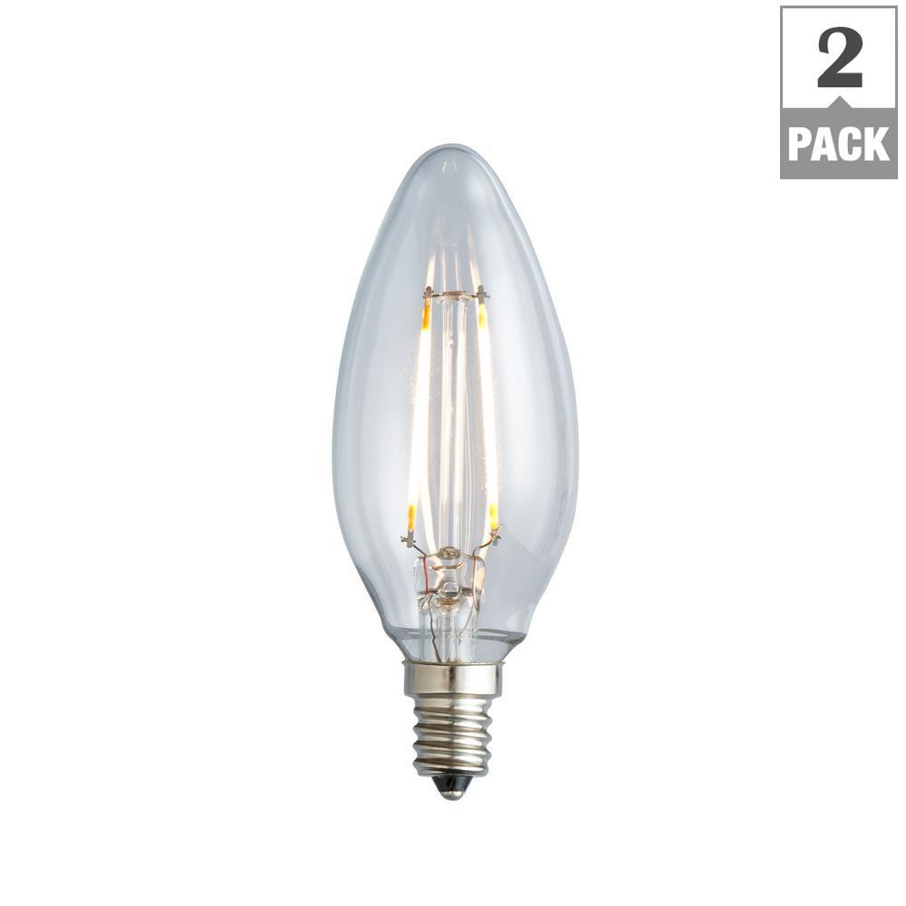 25W Equivalent Warm White B10 Clear Lens Nostalgic Candelabra Blunt Tip Dimmable LED Light Bulb (2-Pack)