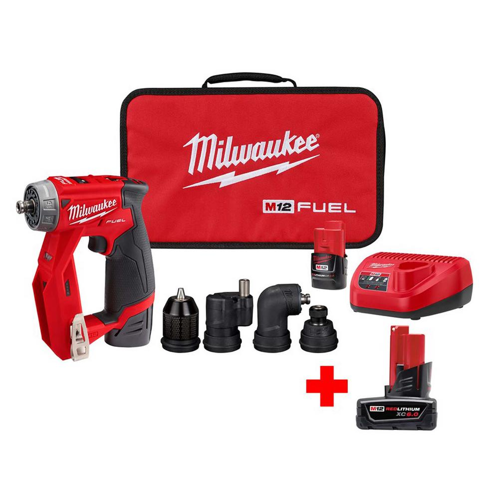 Milwaukee M12 FUEL 12-Volt Lithium-Ion Brushless Cordless 4-in-1 Interchangeable 3/8 in. Drill Driver Kit with Free 6.0 Ah Battery