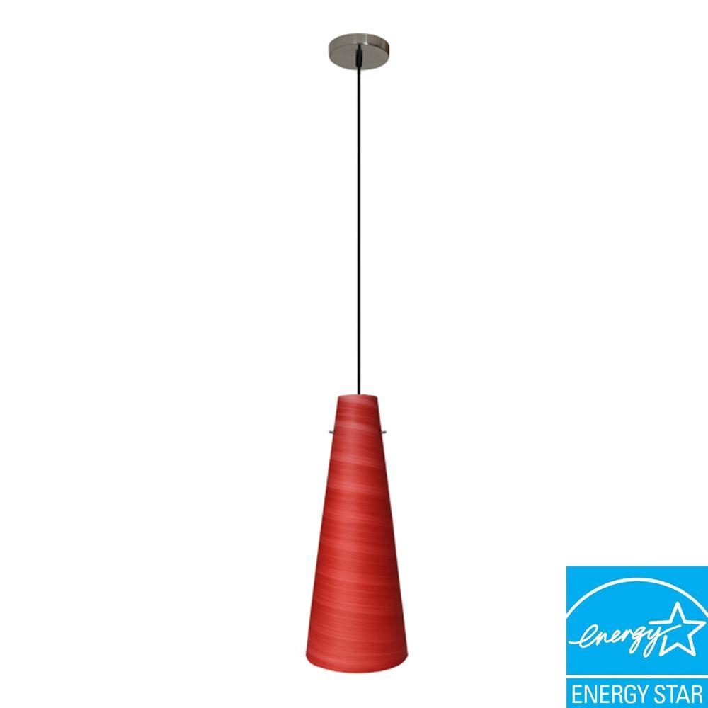 Efficient Lighting Conventional  1-Light Ceiling Mount Pendant  with Red Glass Shade and GU24 Energy Star Qualified Bulb-DISCONTINUED