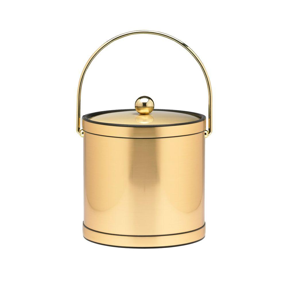 Kraftware 3 Qt. Brushed Brass Mylar Ice Bucket with Brass Bale Handle, Bands and Metal Cover