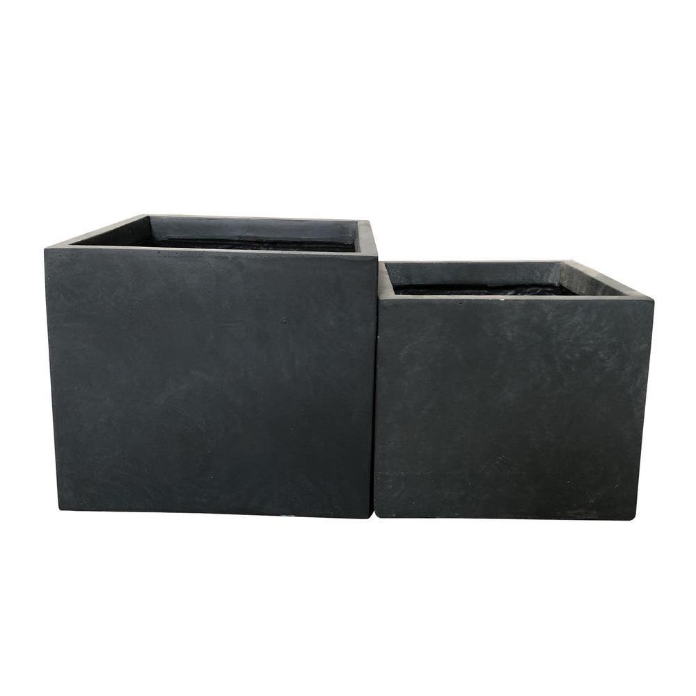 Lightweight Concrete Square Wash Granite Planter (Set of 2)