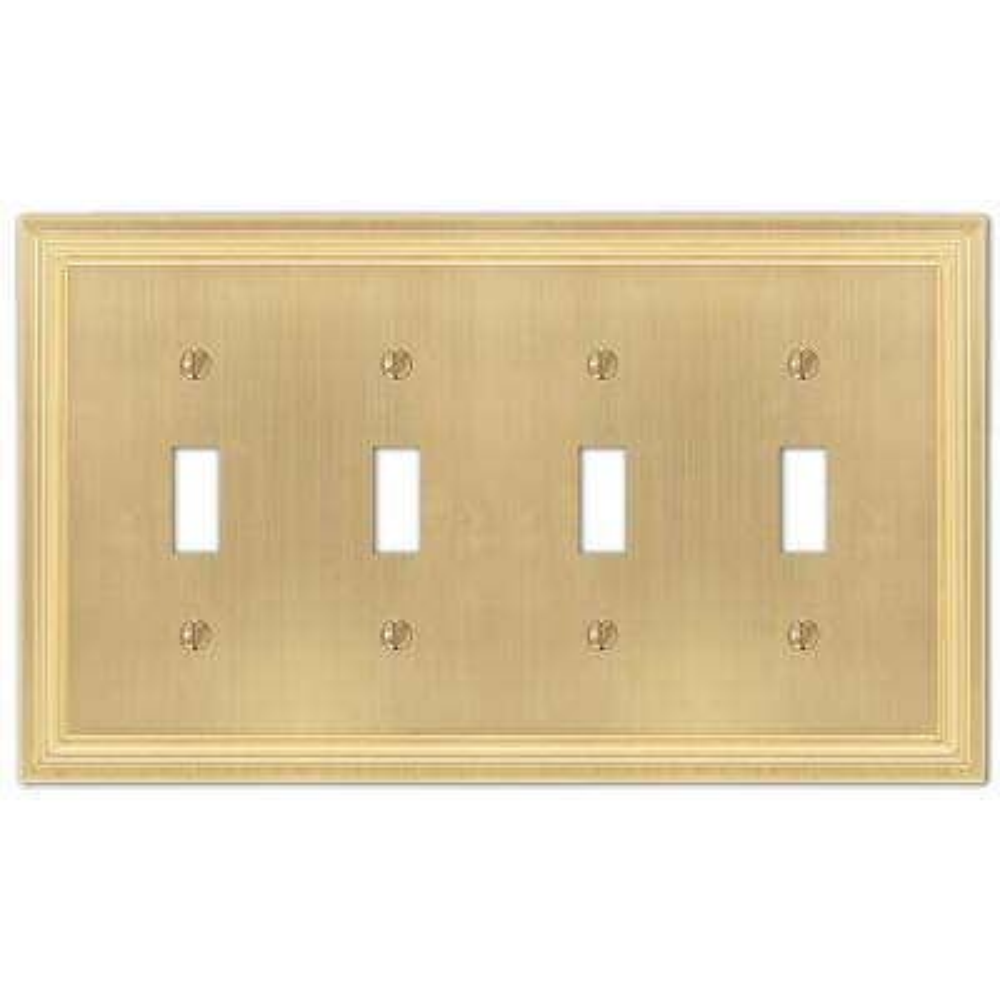 Hallcrest 4 Gang Toggle Metal Wall Plate - Satin Brass
