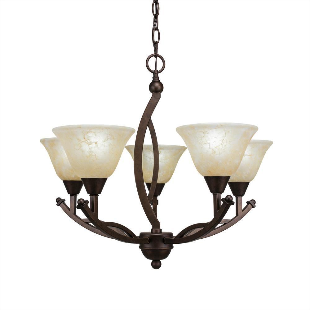 on sale 5ad02 f3515 Filament Design 5-Light Bronze Chandelier with 7 in. Amber Marble Glass