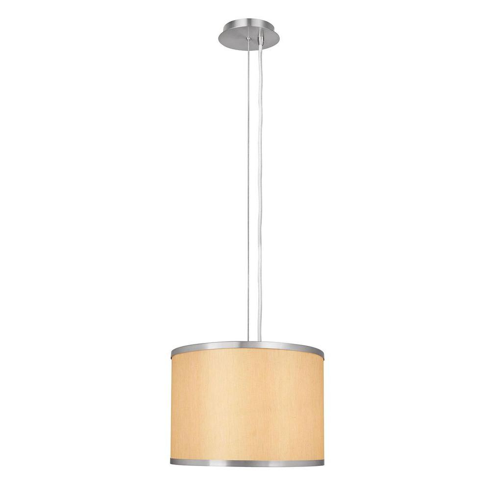 1-Light Beige and Brushed Steel Pendant with Drum Shade