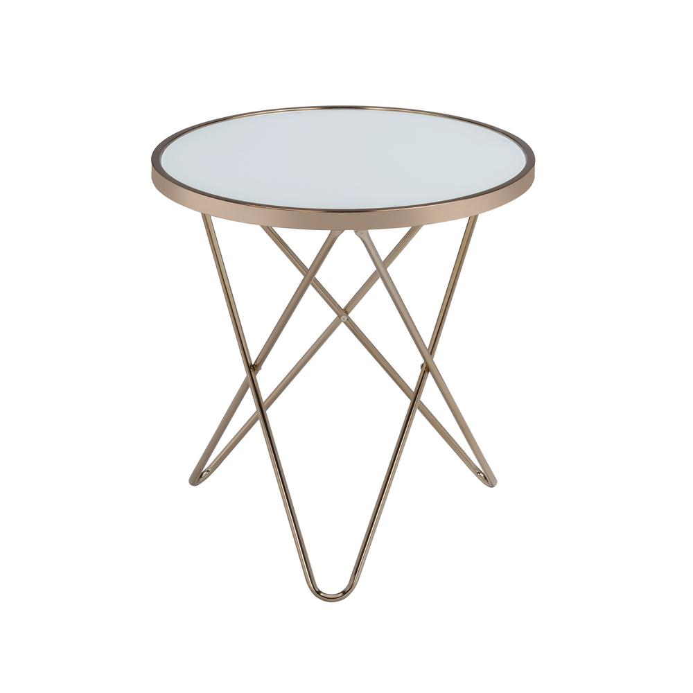 Acme furniture valora champagne and frosted glass top end table 81827 the home depot Frosted glass furniture