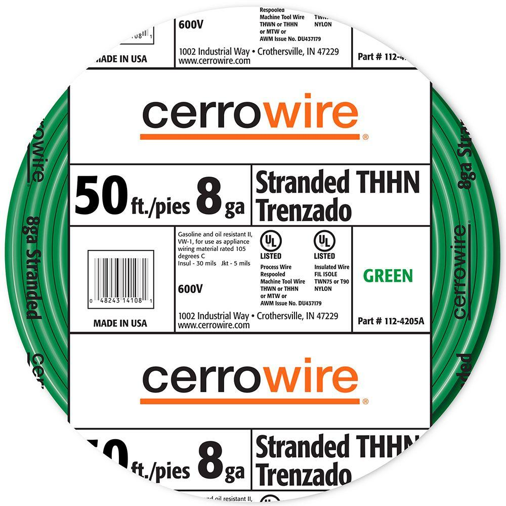 Cerrowire 50 ft. 8-Gauge Green Stranded THHN Wire-112-4005BR - The ...