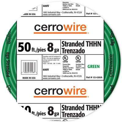 50 ft. 8-Gauge Green Stranded THHN Wire