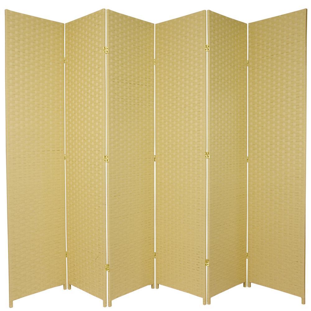 7 ft. Dark Beige 6-Panel Room Divider