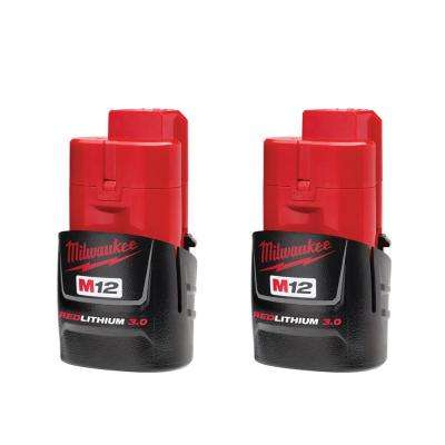 M12 12-Volt Lithium-Ion Compact Battery Pack 3.0Ah (2-Pack)