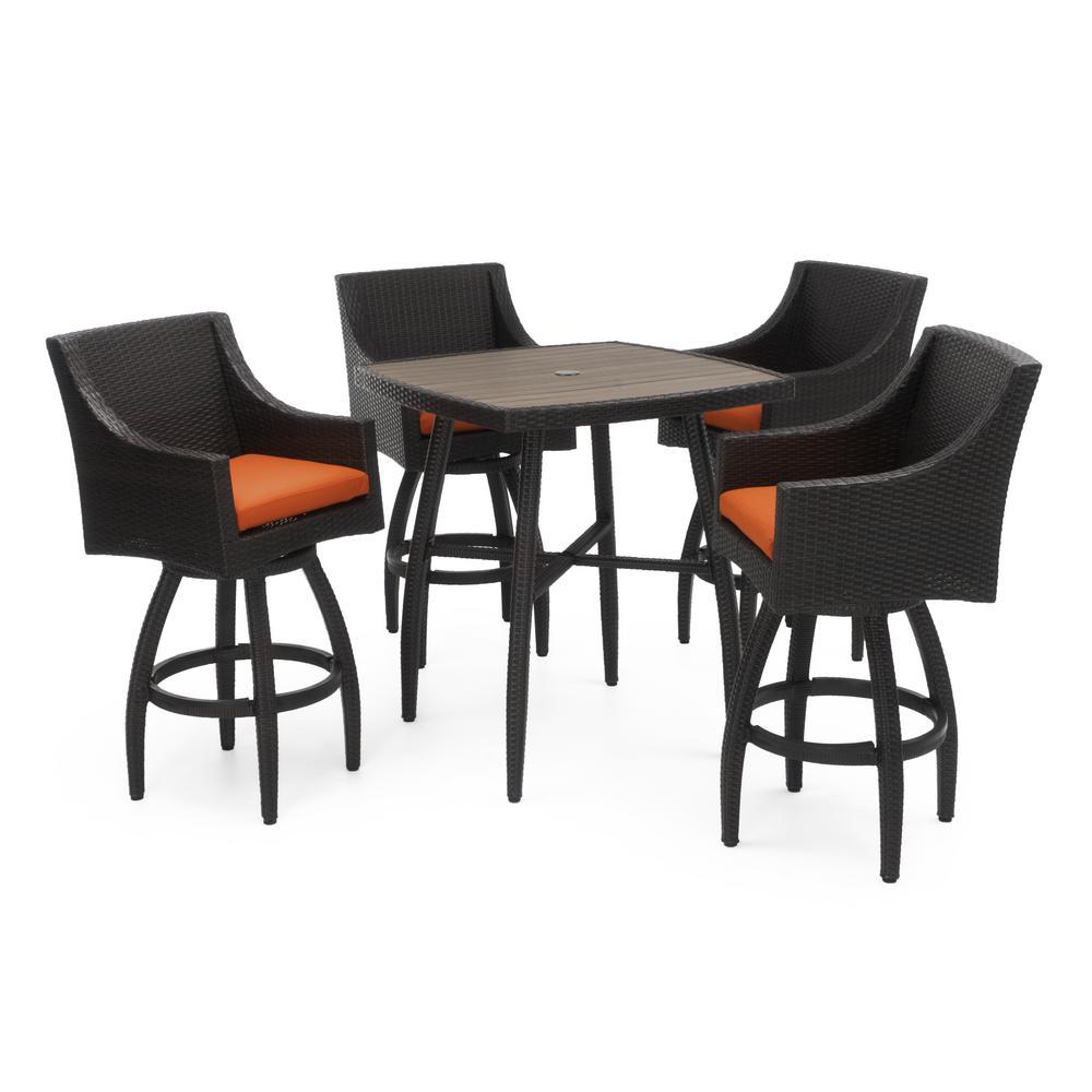 Deco 5-Piece Wicker Square Outdoor Bar Height Dining Set with Sunbrella Tikka Orange Cushions