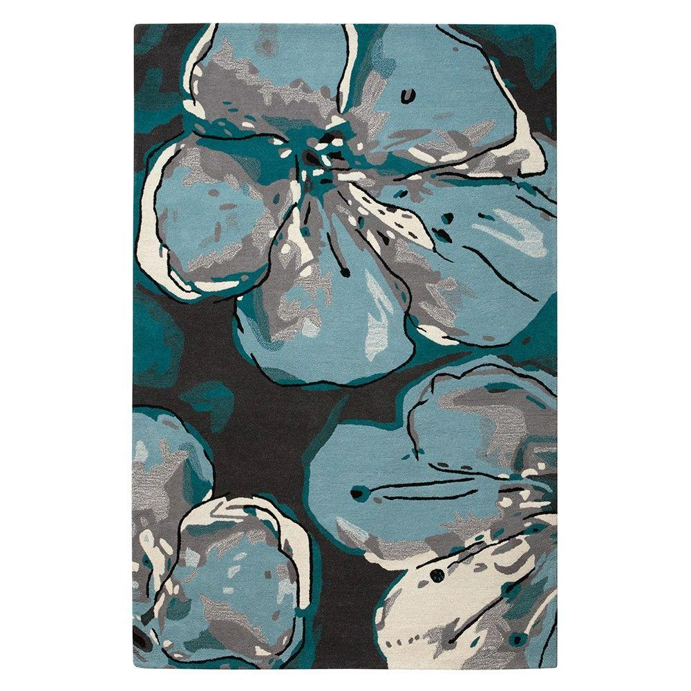 Home Decorators Collection Marvelle Grey and Blue 3 ft. 6 in. x 5 ft. 6 in. Area Rug