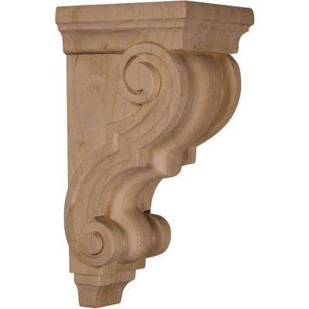 5 in. x 4-1/2 in. x 10 in. Unfinished Wood Walnut Medium Traditional Corbel