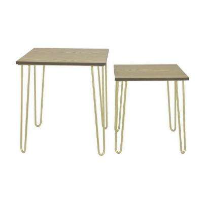 18 in. Gold Metal Tables with Wood Tops (Set of 2)
