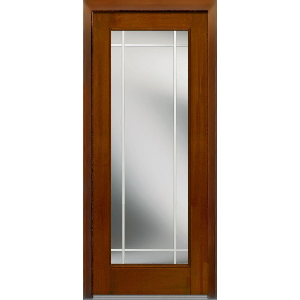 32 in. x 80 in. GBG Left-Hand Full Lite Classic Stained