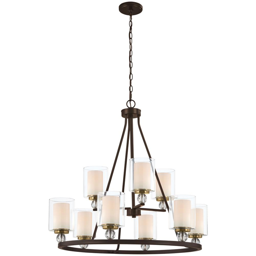 Minka Lavery Studio 5 9-Light Painted Bronze with Natural Brushed Brass Chandelier with Clear Glass Shade