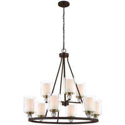 Studio 5 9-Light Painted Bronze with Natural Brushed Brass Chandelier with Clear Glass Shade