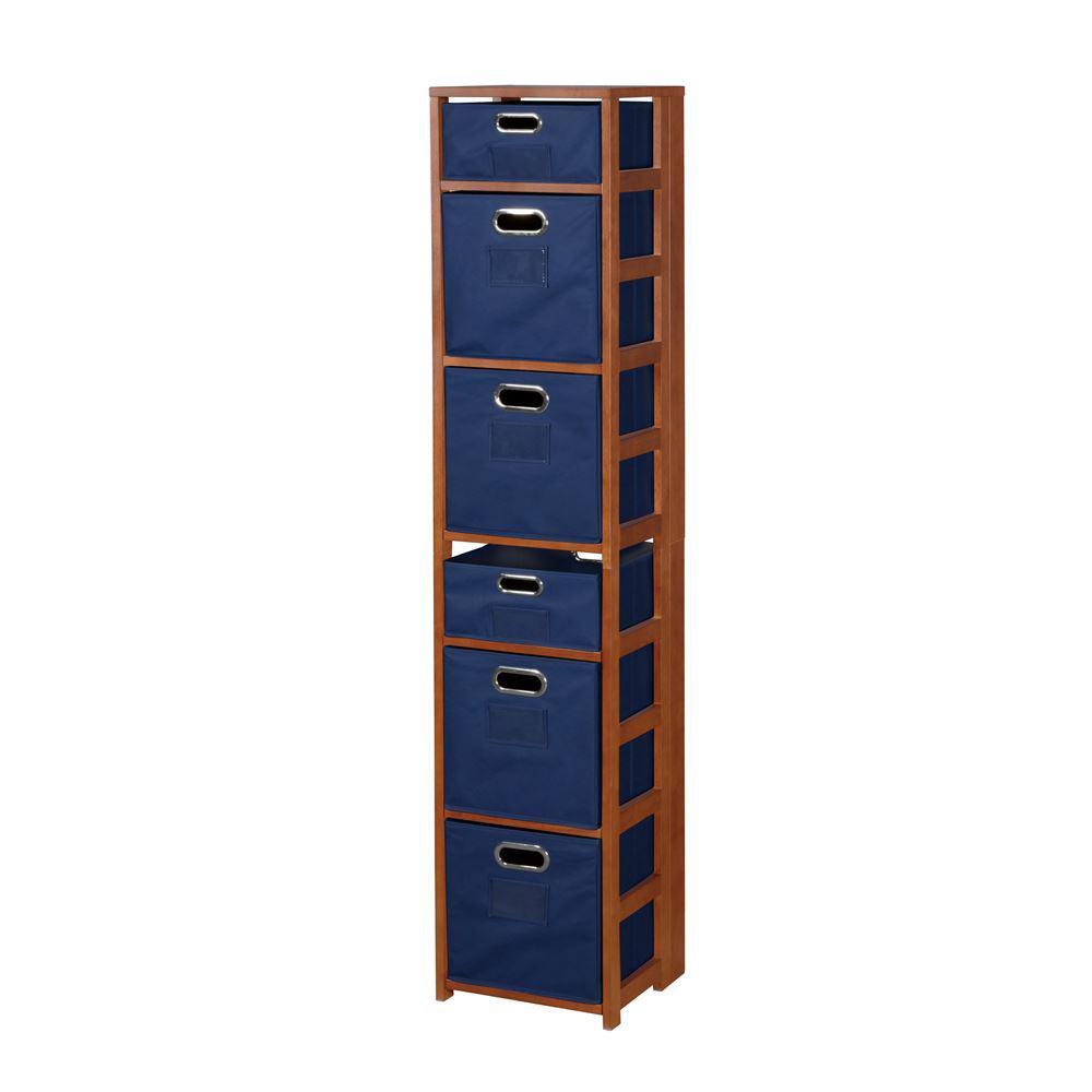Nemus Cherry and Blue 6-Shelf Folding Bookcase and Storage Tote Set