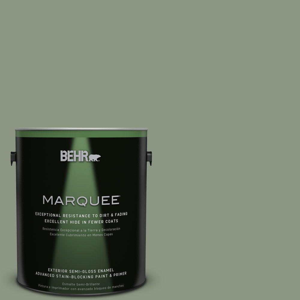 BEHR MARQUEE 1-gal. #PPU11-17 Hillside Green Semi-Gloss Enamel Exterior Paint