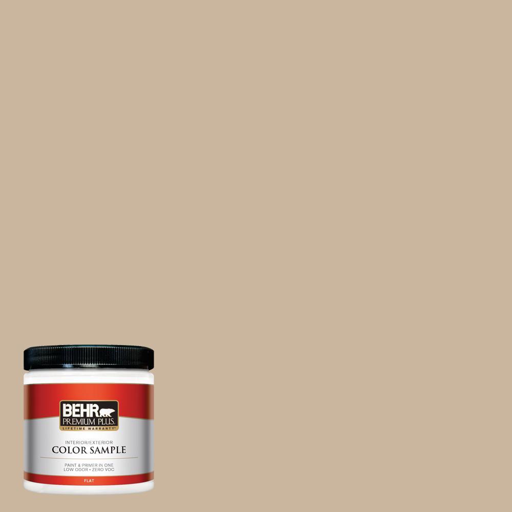 BEHR Premium Plus 8 oz. #PPU4-07 Mushroom Bisque Flat Interior/Exterior Paint Sample