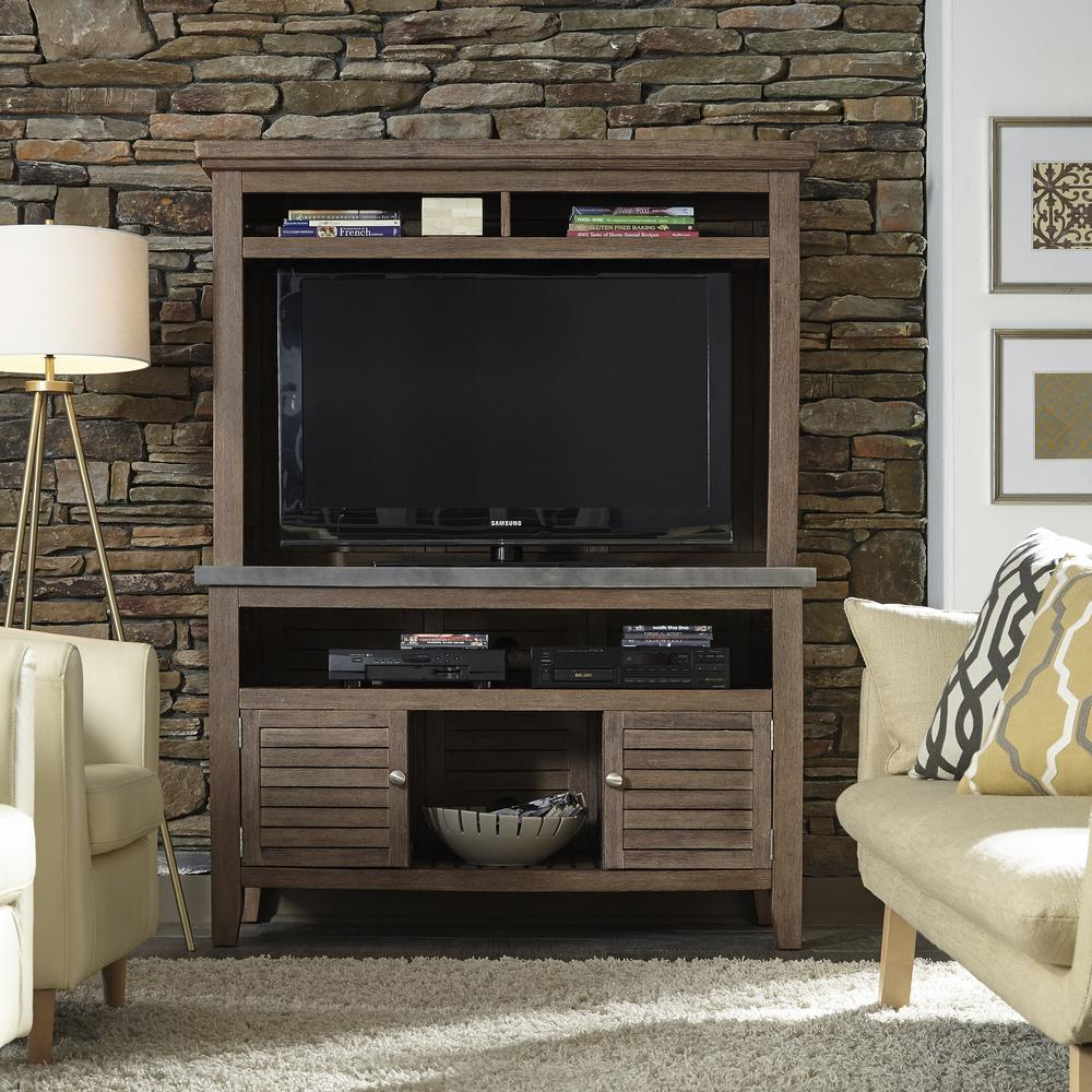 Superbe Home Styles Concrete Chic Weathered Brown Indoor/Outdoor TV Credenza Stand  With Hutch