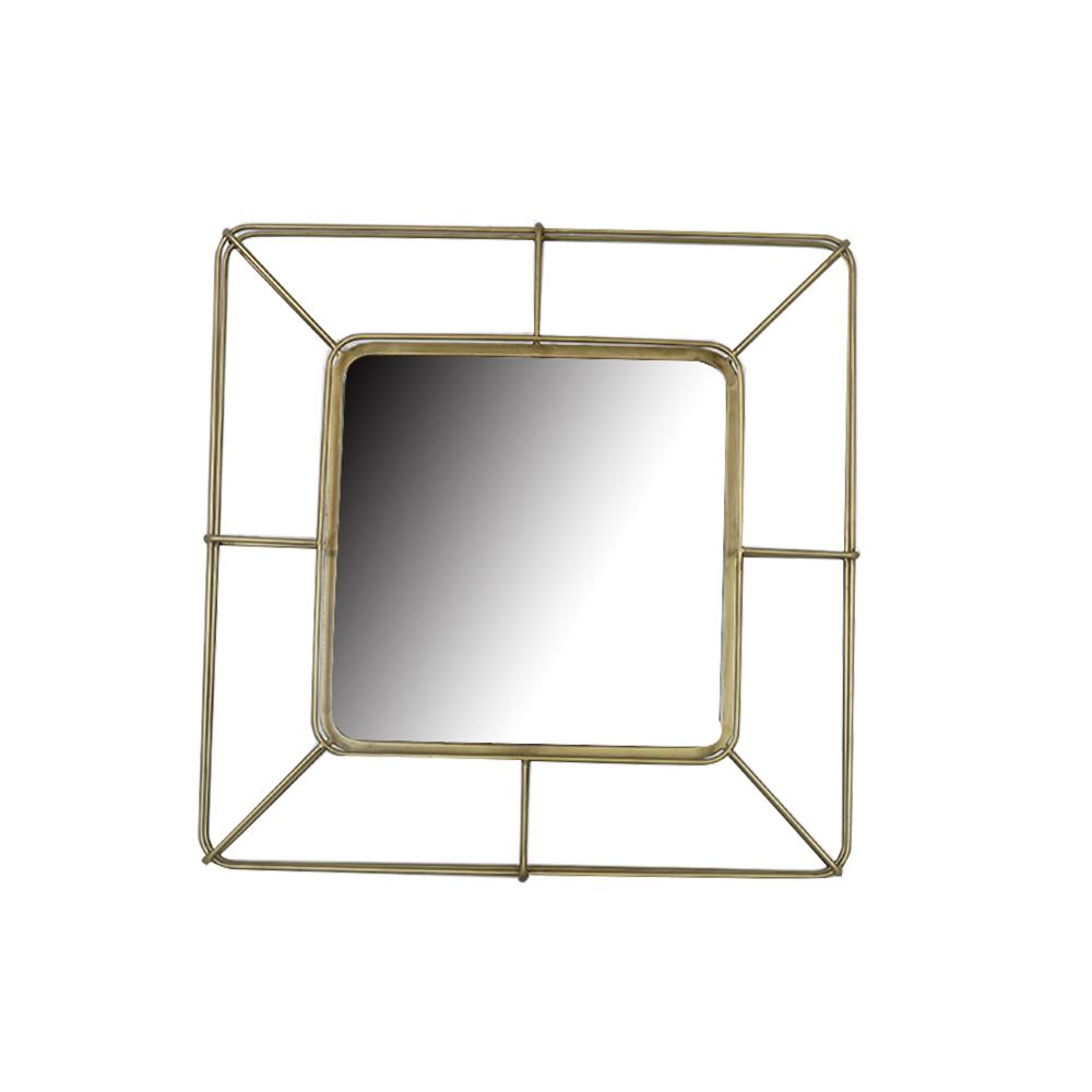 Home Decorators Collection Medium Square Gold Modern Accent Mirror with Metal Wire Frame (28 in. H x 28 in. W) was $129.0 now $68.59 (47.0% off)