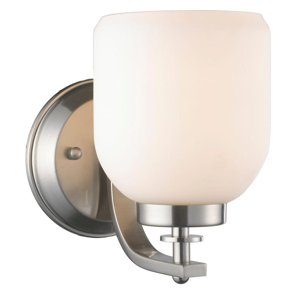 1 Light Brushed Nickel Sconce With White Frosted Glass Shade