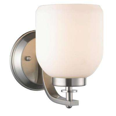 1-Light Brushed Nickel Sconce with White Frosted Glass Shade