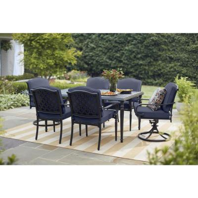 Laurel Oaks Brown Steel Outdoor Patio Lounge Chair with Cushion Guard Midnight Navy Blue Cushions (2-Pack)