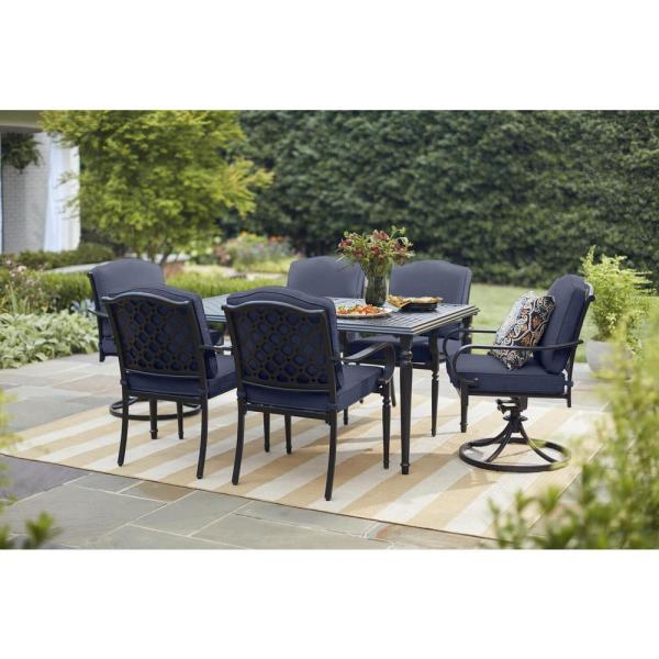 Laurel Oaks 7-Piece Brown Steel Outdoor Patio Dining Set with CushionGuard Midnight Navy Blue Cushions