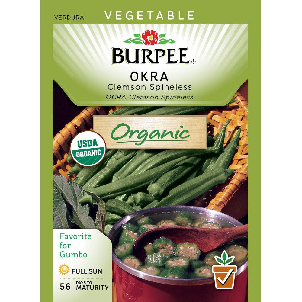 Burpee Okra Clemson Spineless Organic Seed