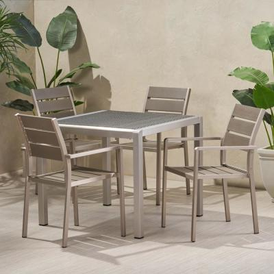 Cape Coral 30 in. Silver 5-Piece Aluminum Square Outdoor Dining Set