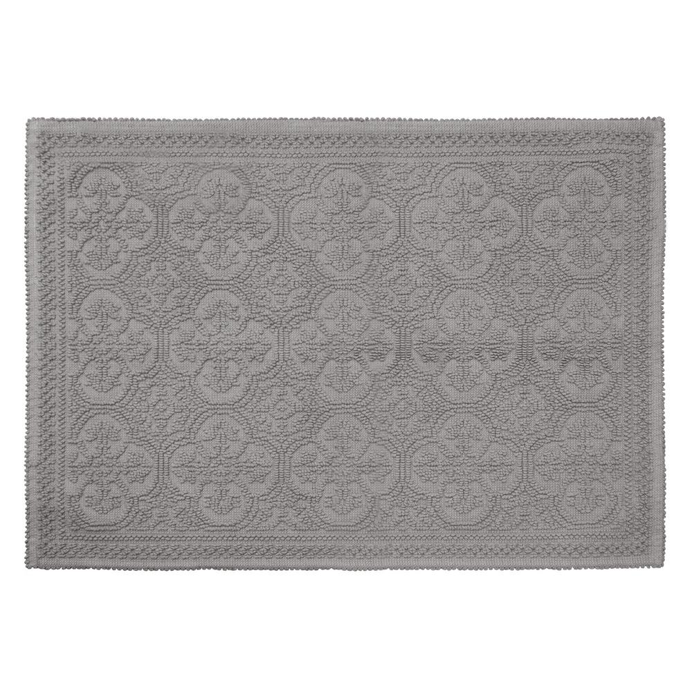 Clementine Beaded Cotton 24 in. x 36 in. Bath Rug, Charcoal