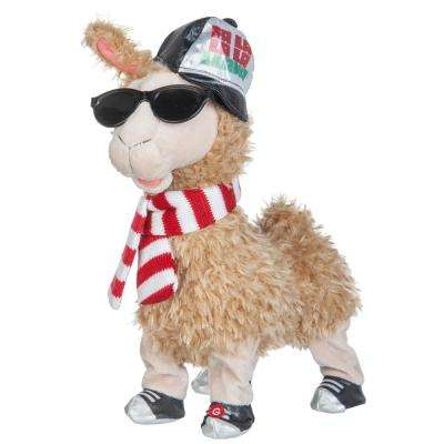 11.81 in. Christmas Animated Plush Hip Hop Llama