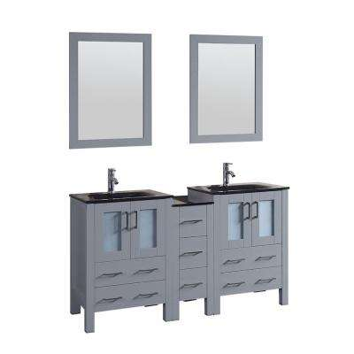 Bosconi 60 in. Double Vanity in Gray with Vanity Top in Black, Black Basin and Mirror