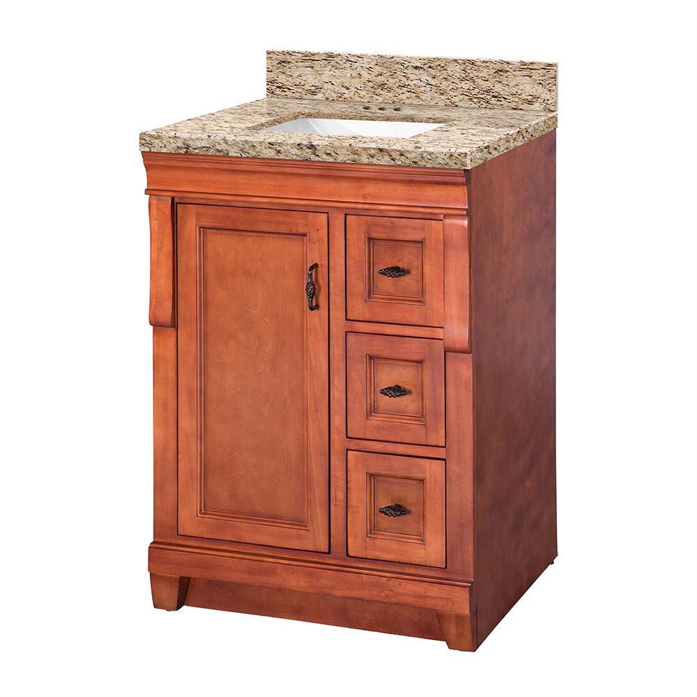 Naples 25 in. W x 22 in. D Vanity in Warm Cinnamon with Granite Vanity Top in Giallo Ornamental with White Sink