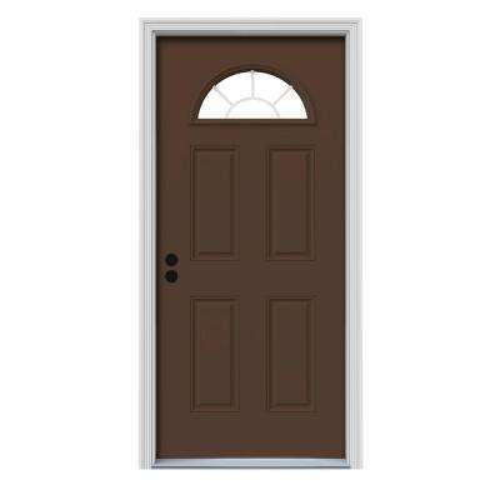 36 in. x 80 in. Fan Lite Dark Chocolate Painted Steel Prehung Right-Hand Inswing Front Door w/Brickmould