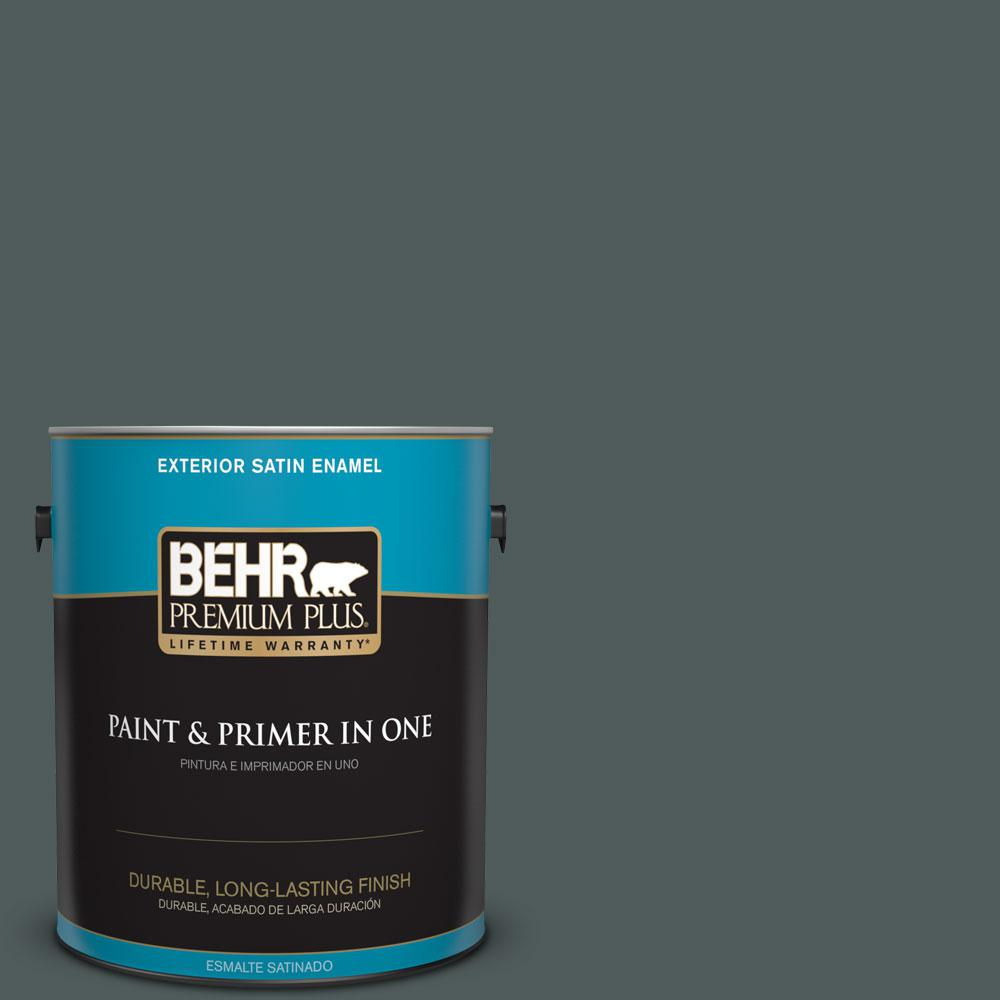 BEHR Premium Plus 1-gal. #N440-7 Midnight in NY Satin Enamel Exterior Paint