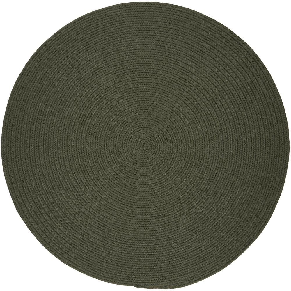 Texturized Solid Dark Sage Poly 6 ft. x 6 ft. Round Braided Area Rug