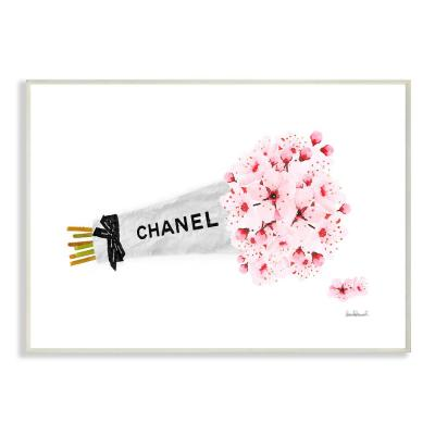"""12.5 in. x 18.5 in. """"Fashion Chanel Wrapped Cherry Blossoms"""" by Amanda Greenwood Wood Wall Art"""