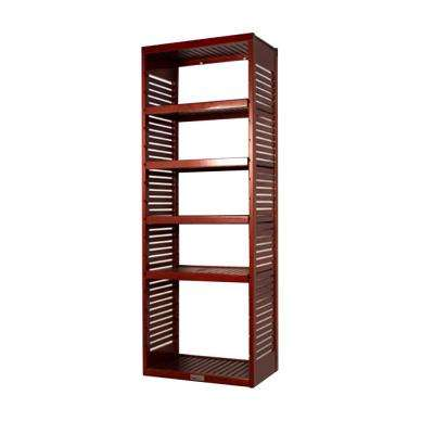 16 in. Deep Deluxe Tower Kit with Shelves Red Mahogany