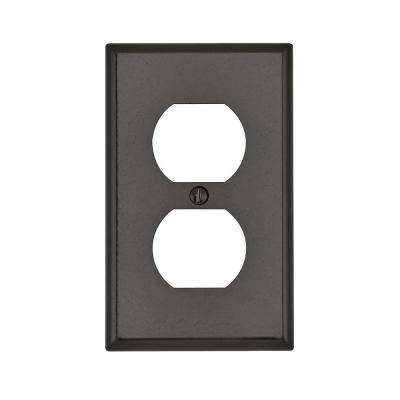 1-Gang Standard Size Plastic Wall Plate and 1-Duplex Receptacle in Brown