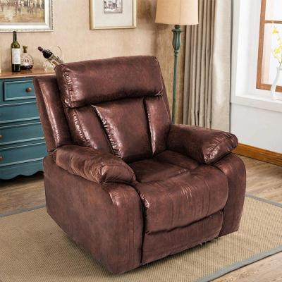 Brown Reclining Couch Sofa Chair PU Leather Accent Recliner Set Manual Motion for Home Office