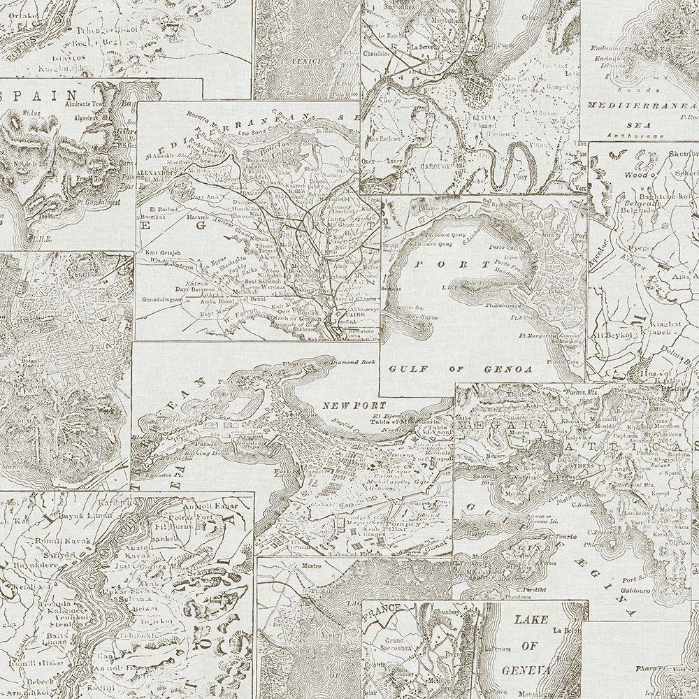 Chesapeake Conrad Black Map Wallpaper Sample MAN02733SAM