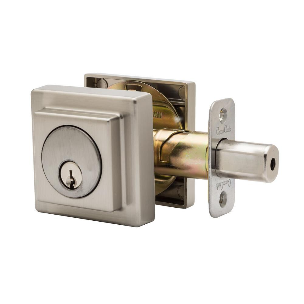 Comtemporary Square Double Cylinder Satin Stainless Deadbolt