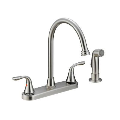 High Arc 2-Handle Standard Kitchen Faucet with Sprayer in Brushed Nickel